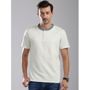 Tommy Hilfiger Men Off-white Henley T-Shirt