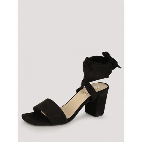Buy KOOVS Black Leg Tie Heeled Sandals