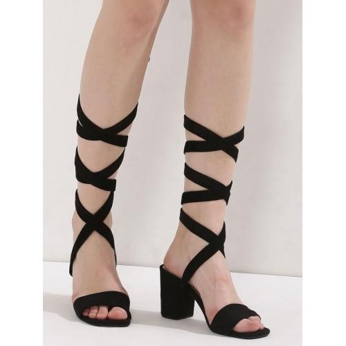 df84f0435f5 Buy KOOVS Black Leg Tie Heeled Sandals online