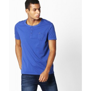 SPYKAR Henley T-shirt with Epaulettes