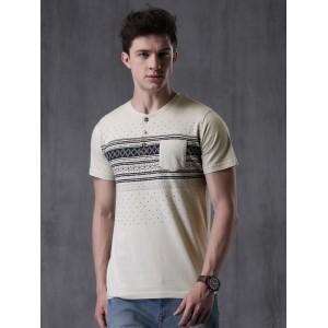 WROGN Men Off-White Printed Henley Neck T-shirt