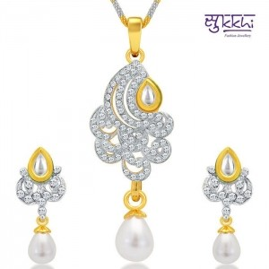 Sukkhi Gold & Rhodium Plated AD Kundan Pendant Set