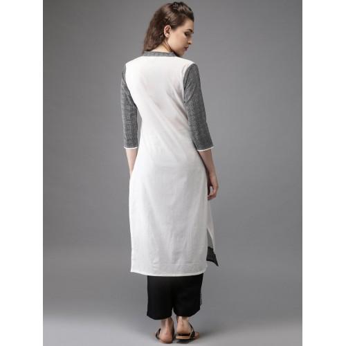 Moda Rapido Off-white & Black Printed Straight Kurta