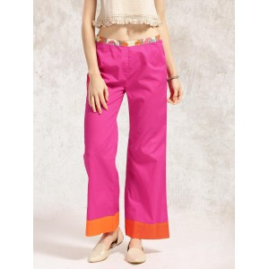 Anouk Women Magenta Solid Parallel Trousers