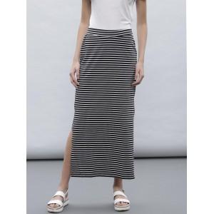 ETHER Black & White Striped Maxi Skirt