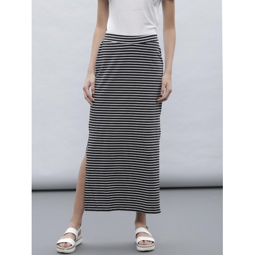 1ee55511d86c96 Buy ETHER Black & White Striped Maxi Skirt online | Looksgud.in