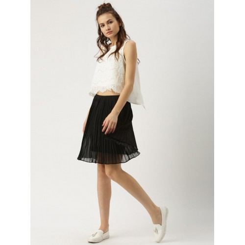 Ms.Taken by Kriti Sanon Black Pleated Flared Skirt