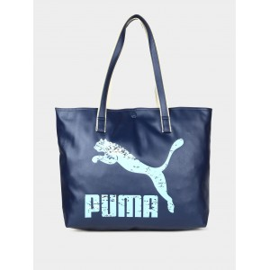 Puma Navy & Off-white Printed Tote