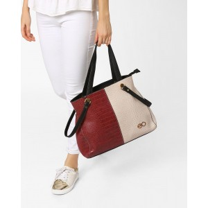 E2O Textured Colourblock Tote Bag