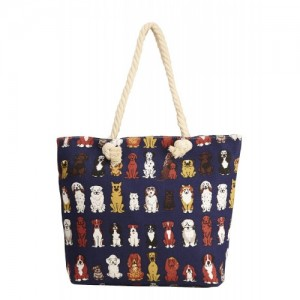 Vero Couture Navy Blue Polyester Printed Canvas Tote