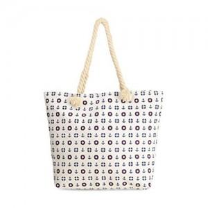Vero Couture Vero Couture White Anchor Printed Tote Bag