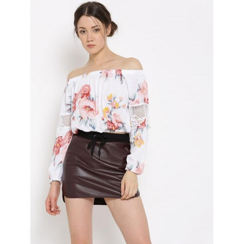 b63df709dbfa98 Buy FOREVER 21 Rayon White Floral Printed Off-Shoulder Top online ...