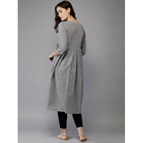 Moda Rapido Women Grey & White Printed A-Line Kurta