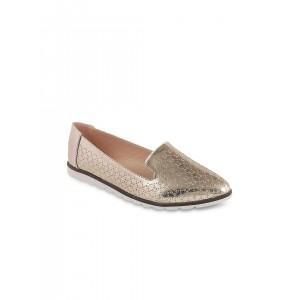Mochi Women Gold-Toned Flat Shoes