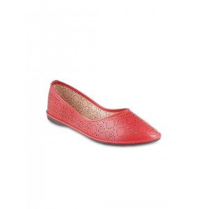 Mochi Women Red Flat Shoes with Laser Cuts