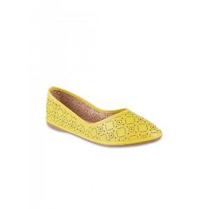 Mochi Women Yellow Flat Shoes with Laser Cuts