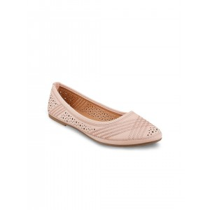 Mochi Women Pink Self-Design Ballerinas with Cut-Out Detail