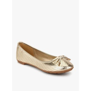 Solovoga Meshine Golden Metallic Lazer Cut Belly Shoes