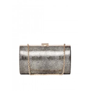 ToniQ Gunmetal-Toned Snakeskin Patterned Shimmer Clutch with Chain Strap