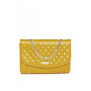ToniQ Yellow Quilted Clutch with Chain Strap