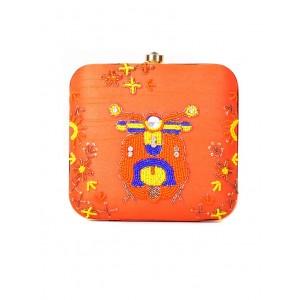 Hopping Street orange metal embellished box clutch
