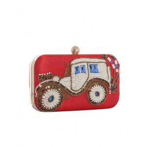 Hopping Street red polyester clutch
