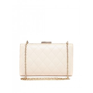 Lisa Haydon for Lino Perros Beige Quilted Box Clutch with Chain Strap