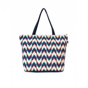 Lemon Trunk Blue & White Canvas Printed Tote Bag