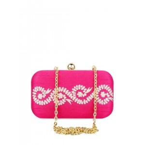 Hepburnette Pink Embroidered Box Clutch