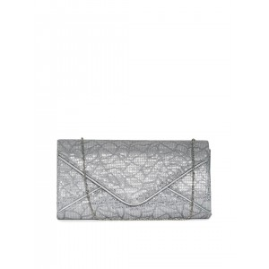 Paprika By Lifestyle Silver-Toned Sequinned Clutch