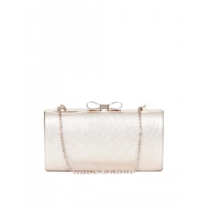 Accessorize Gold-Toned Textured Boxy Clutch