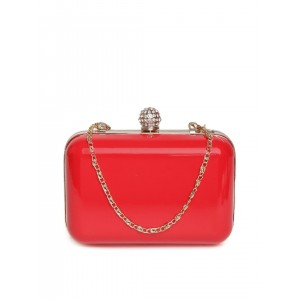 DressBerry Red Box Clutch with Chain Strap