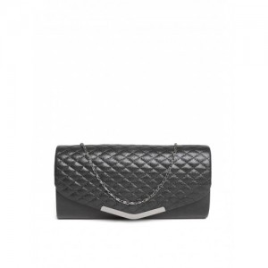 DressBerry Black Quilted Shimmer Clutch with Chain Strap