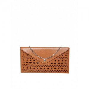 DressBerry Brown Cut-Out Clutch with Chain Strap