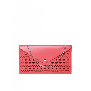 DressBerry Pink Cut-Out Clutch with Detachable Chain Strap