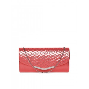 DressBerry Red Quilted Shimmer Clutch with Chain Strap