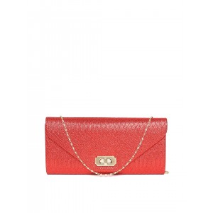 DressBerry Red Shimmer Clutch with Chain Strap