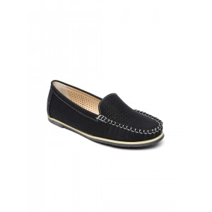Solovoga Women Black Perforated Loafers