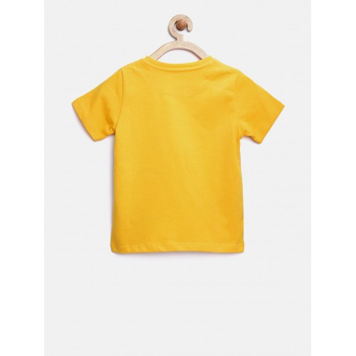 YK Disney Boys Yellow Mickey Mouse Print Round Neck T-shirt