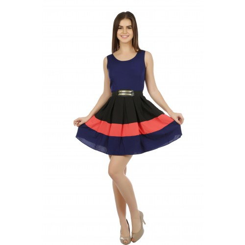 Eyelet Women's A-line Blue Dress