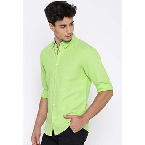 a4b80277f049 ... Unknown SSB Men's Cotton Solid Light Green Casual Shirts ...