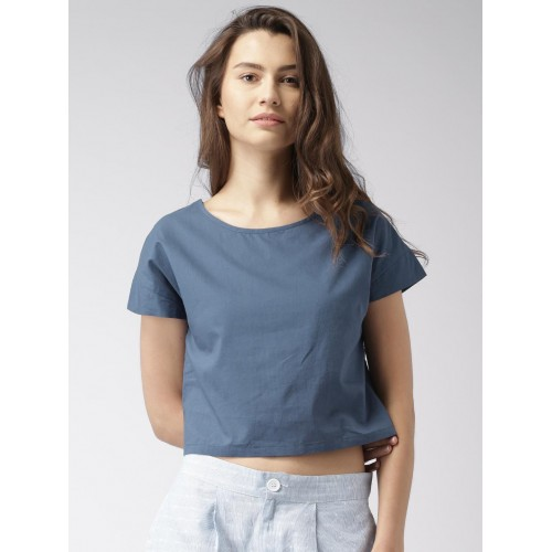 45d0054e397fc Buy Mast   Harbour Women Navy Blue Solid Crop Top online