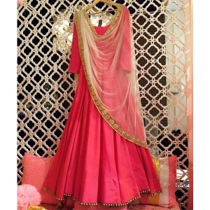 Style Amaze Taffeta Pink Colored Semi-Sttiched Gown
