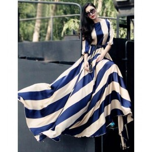shivam fashion Blue Silk Striped Party Wear Gown