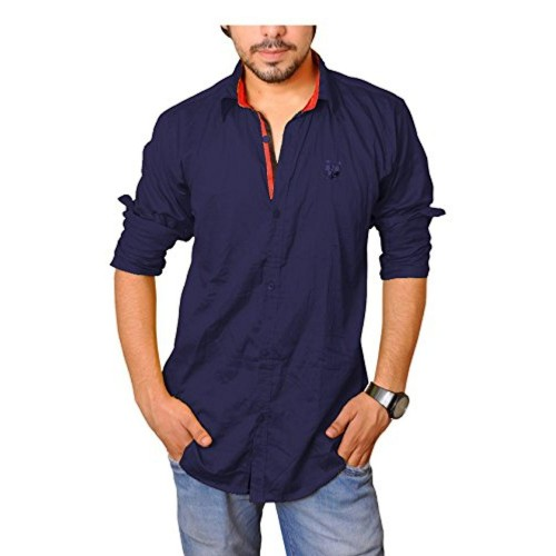 Nation Polo Club Nation Polo Club Men's 100% Cotton Lycra Coduroy Pattern Slim Fit Casual Navy Blue Color Shirt