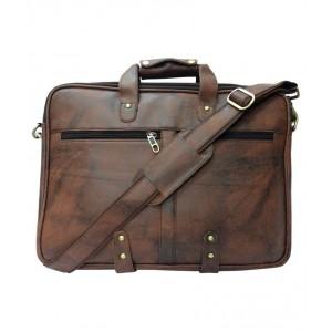 La corsa Brown Leather Office Bag