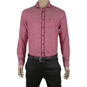 Zillian red linen men slim fit plain party wear shirt