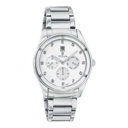 buy titan white and silver dial analog watch for women