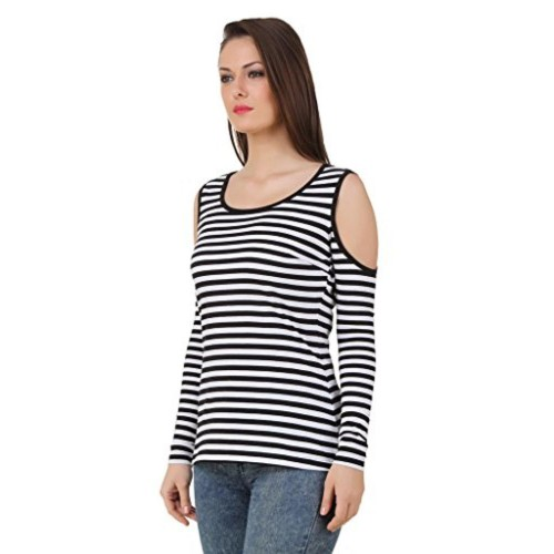 8e167207ecb89 Buy TEXCO Texco black and white stripe cut out shoulder top online ...