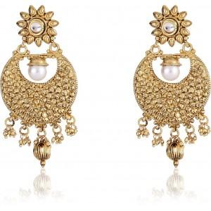 Shining Diva Kundan Alloy Chandbali Earring